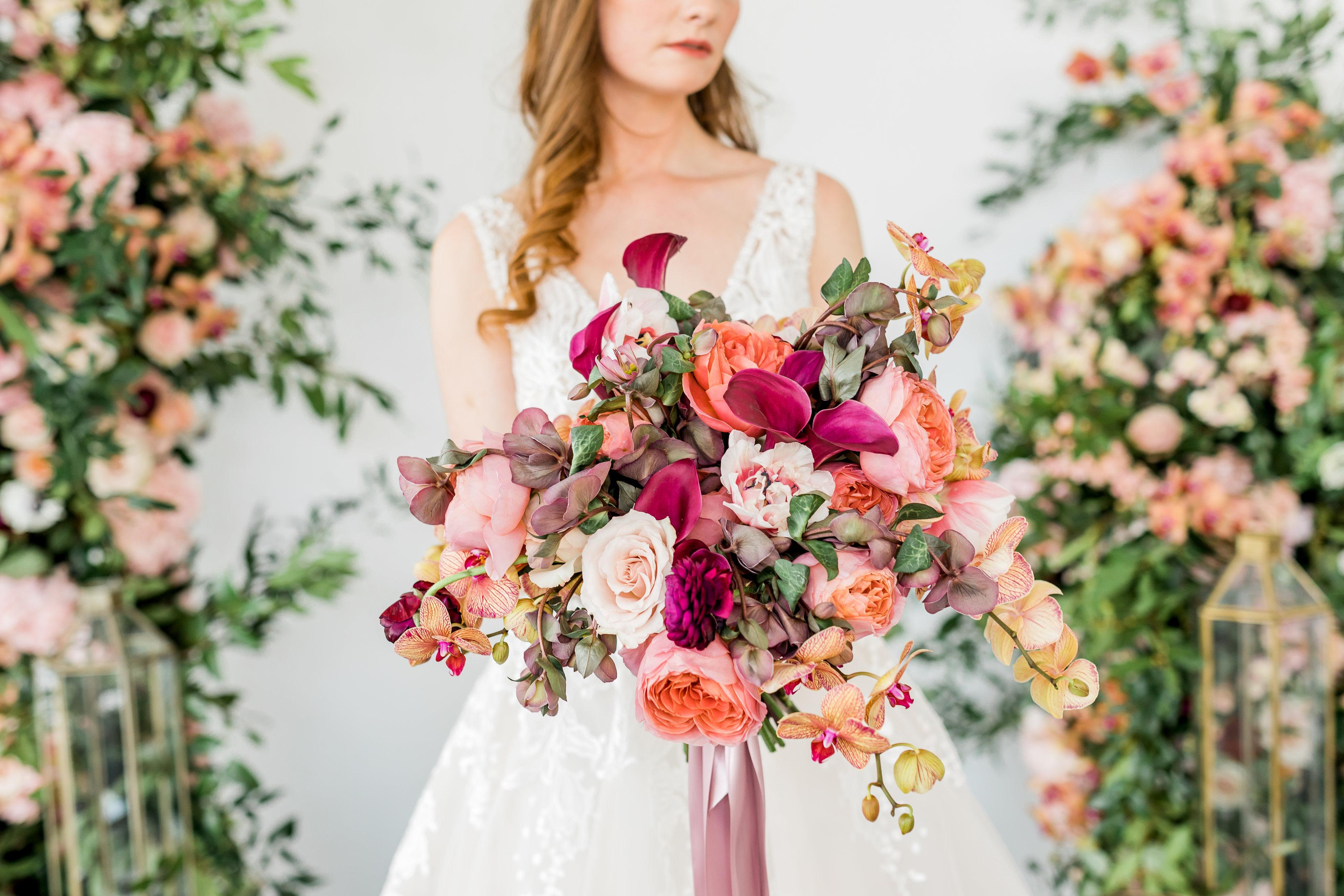 Elegant Coral and Mauve Bouquet
