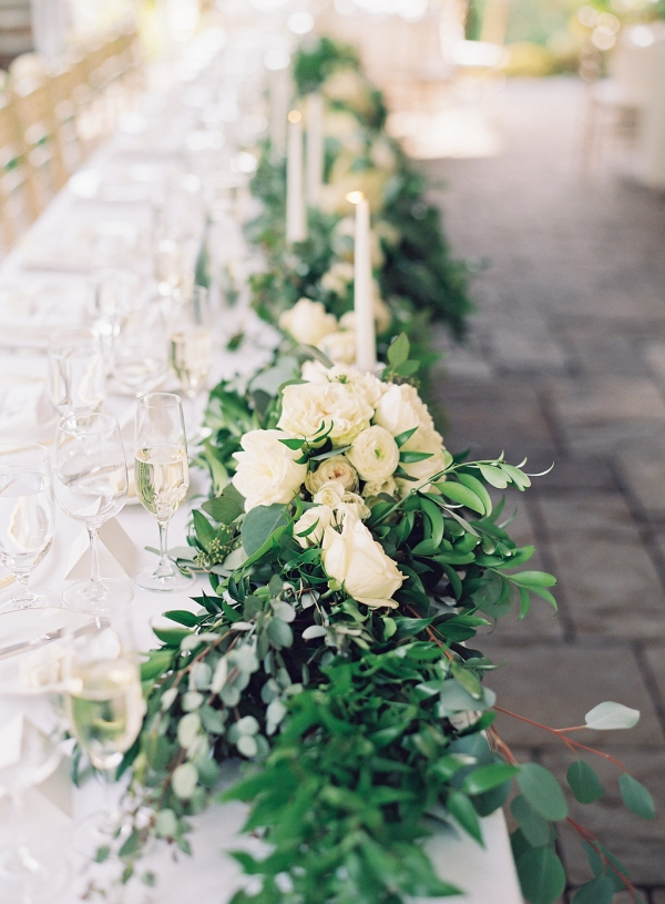 Elegant Greenery and Taper Candle Centerpiece