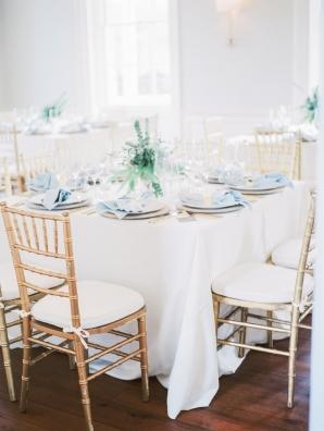 Elegant Pale Blue and Green Wedding Reception