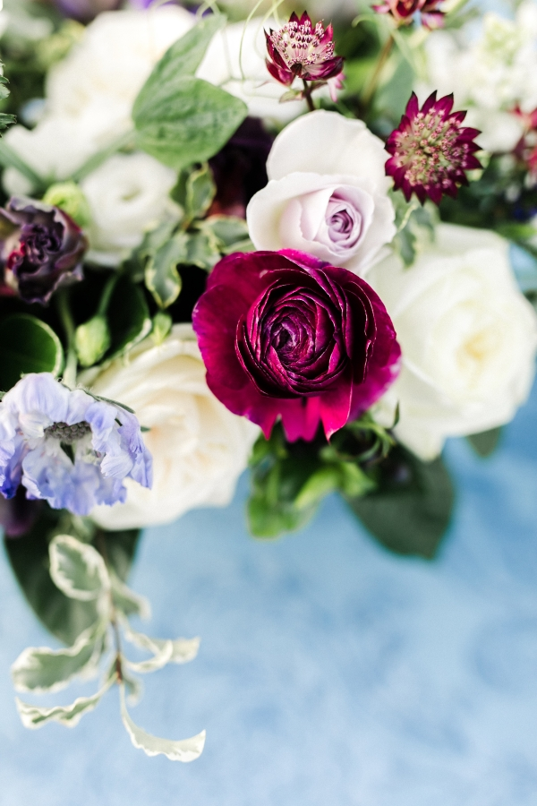Garnet and Blue Wedding Flowers