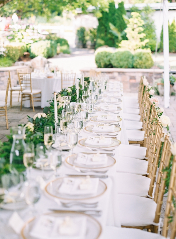 Gold and Green Wedding in Tent