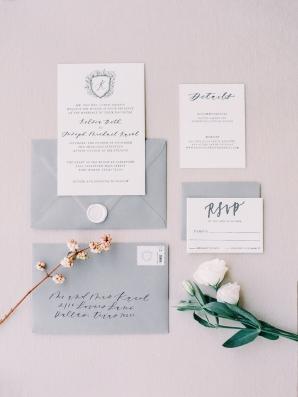 Gray and Dark Blue Wedding Invitations