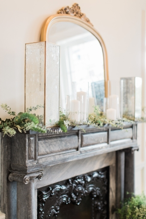 Greenery and Candle Mantel Decor