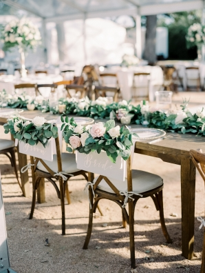 Greenery and Rose Chair Decor