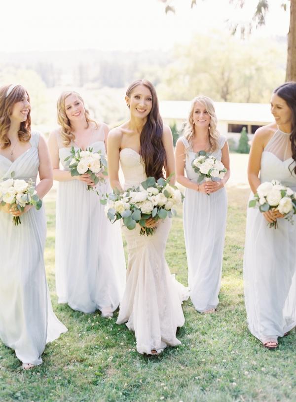 Pale Blue Bridesmaids Dresses 1