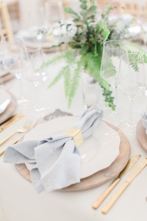 Pale Blue and Natural Wood Wedding Reception