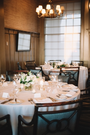 Simple Indoor Ivory Ballroom Wedding