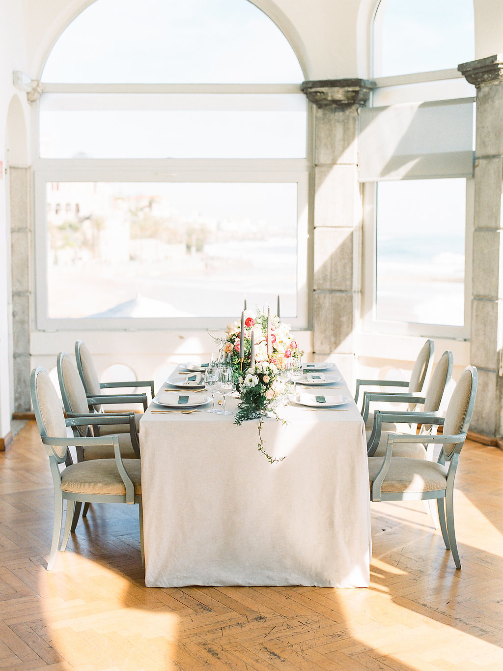 Soft Gray and White Wedding Table