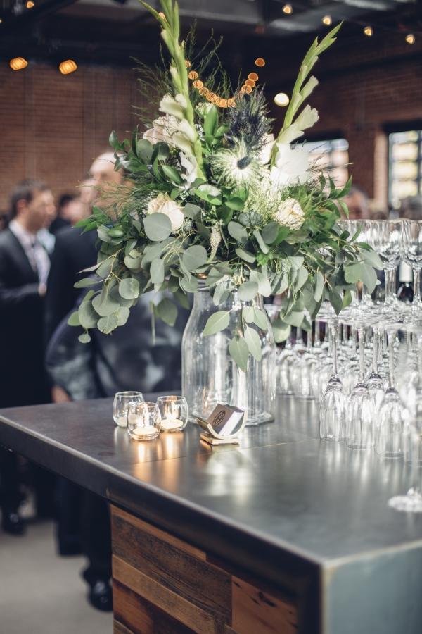 Wedding Bar with Eucalyptus Decor