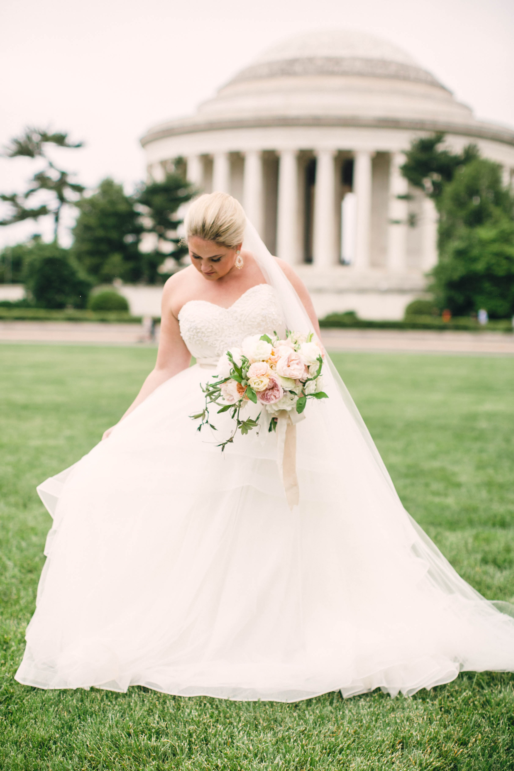 Bride in DC at Jefferson Memorial