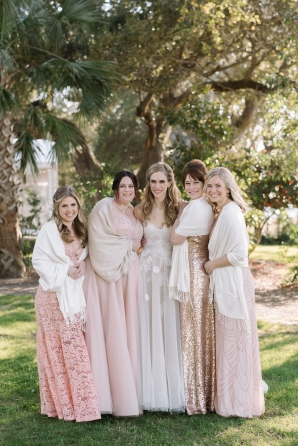 Bridesmaids in Pashminas and Pink Dresses