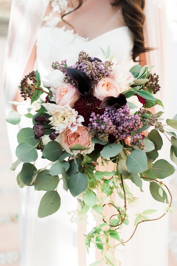 Dramatic Purple Wedding Bouquet