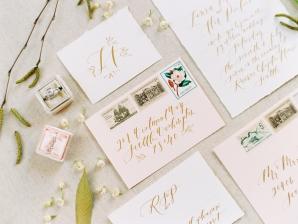 Elegant Pink and Gold Wedding Invitations