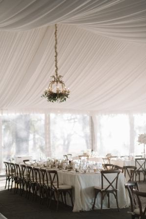 Elegant White and Gold Tent Wedding Reception