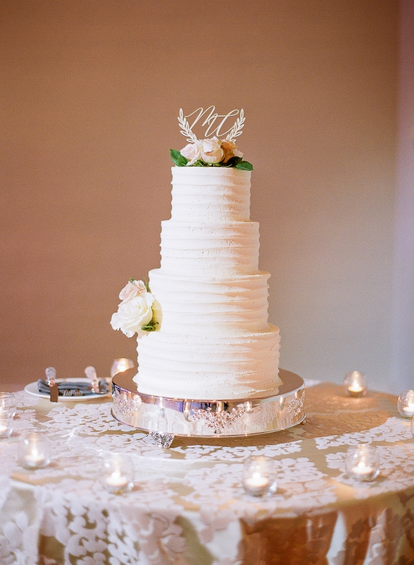 Four Tier Wedding Cake with Laser Cut Topper