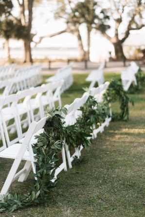 Greenery Garland on Wedding Ceremony Chairs