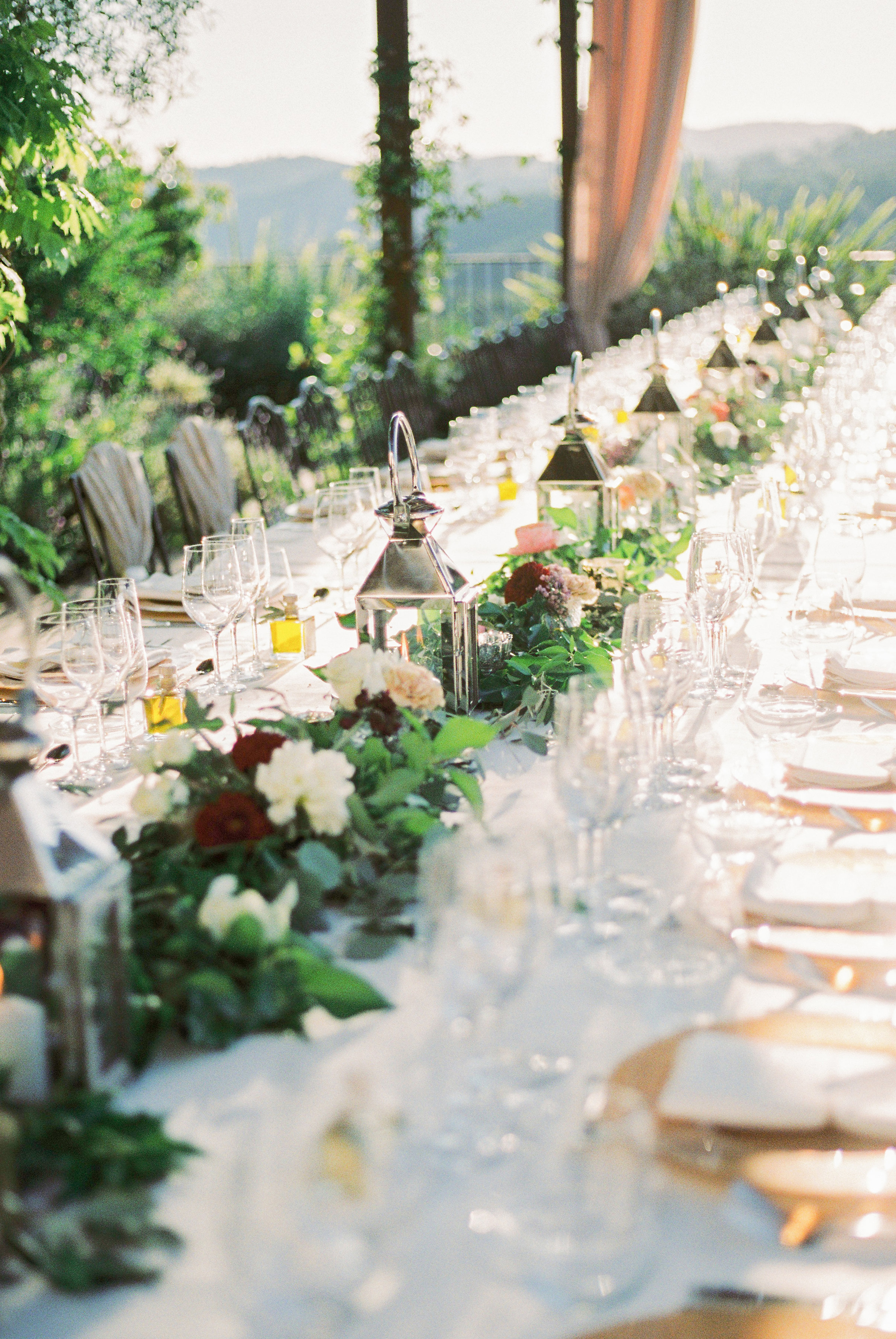 Long Wedding Table with Garland