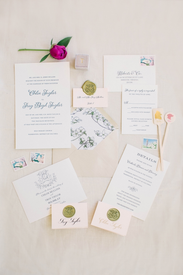 Navy and Pink Wedding Stationery