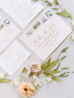 Pale Peach and Gold Wedding Invitations