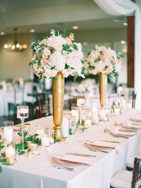 Peach Gold White Wedding Reception