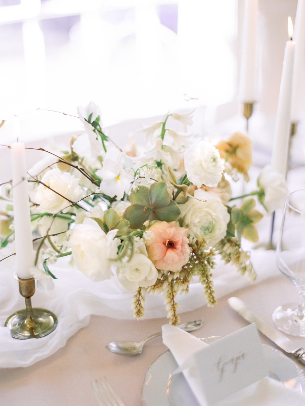 Peach Ivory and Green Elegant Centerpiece
