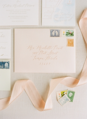 Peach and Sage Wedding Invitations