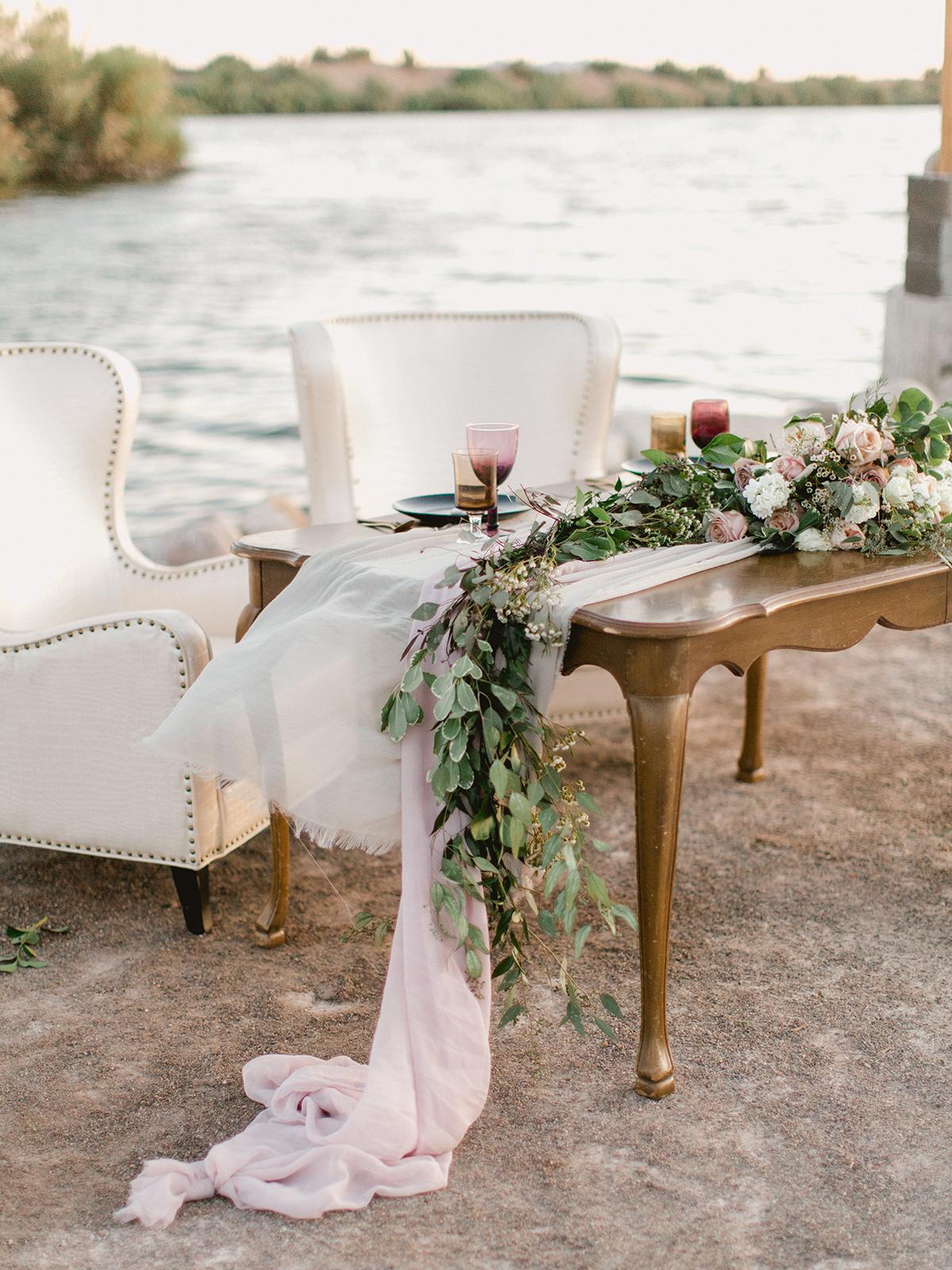 Romantic Wedding Sweetheart Table on Beach