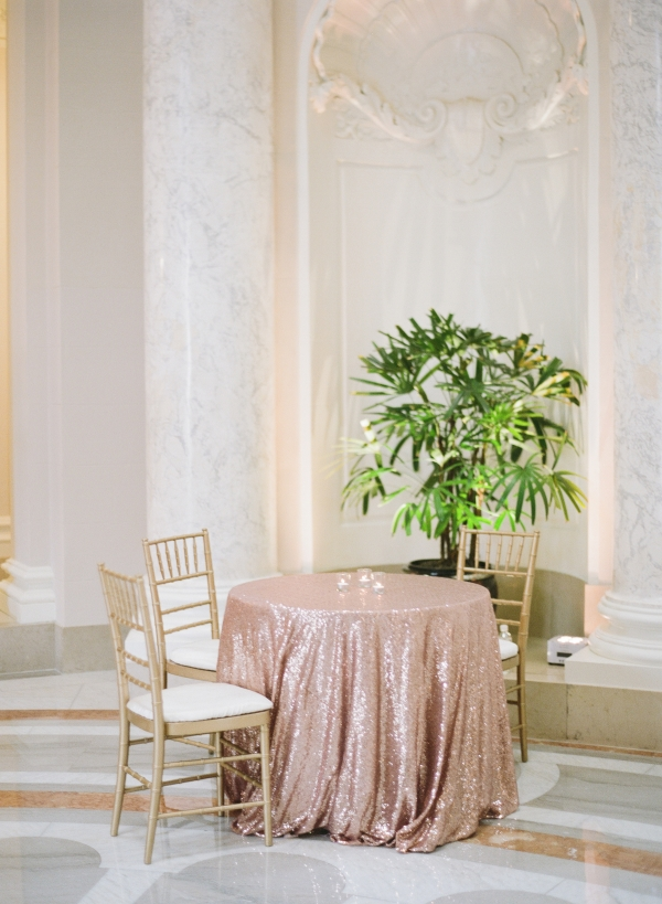 Rose Gold Sequin Table