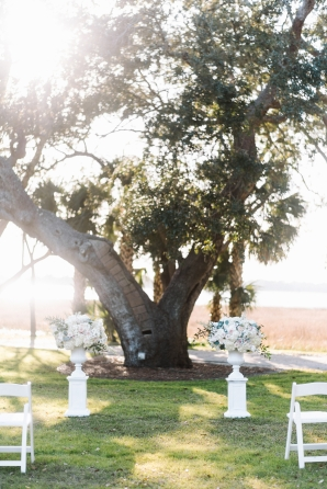 Wedding Ceremony by Huge Tree at Lowndes Grove