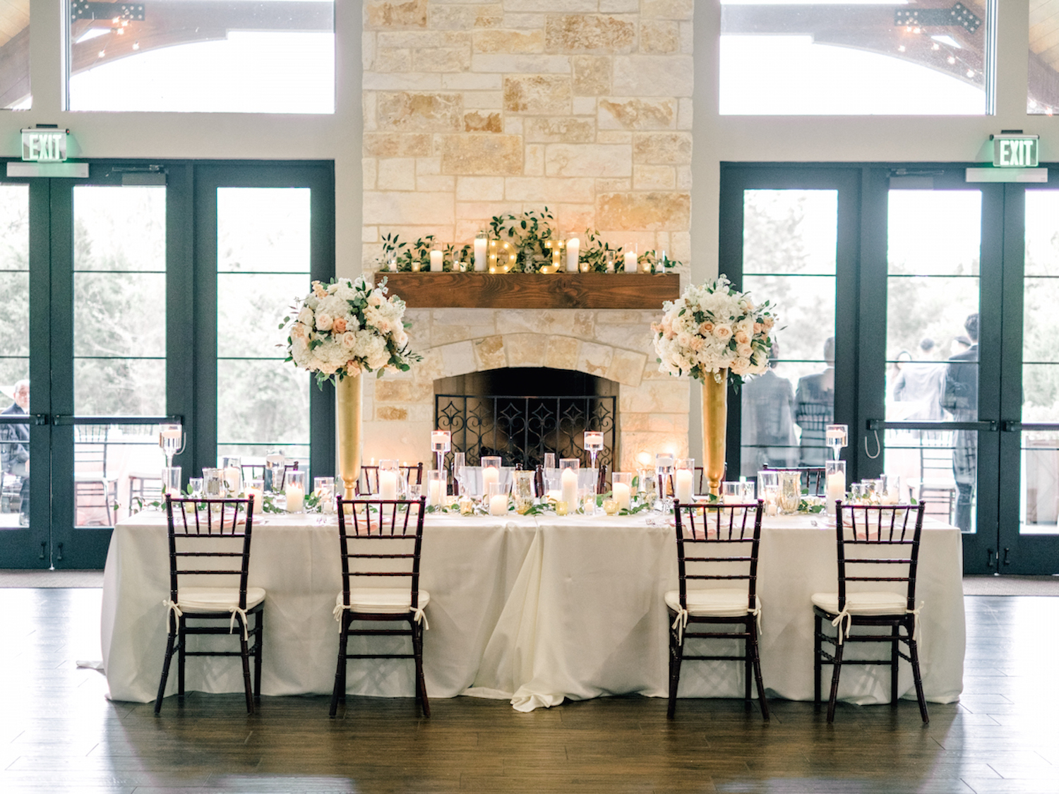 Wedding Party Table by Fireplace