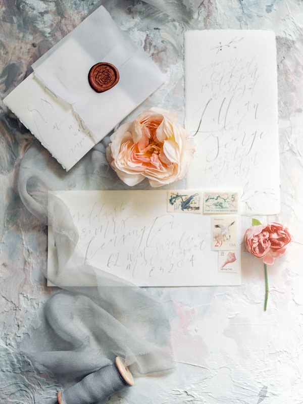 Wedding Stationery with Vintage Stamps