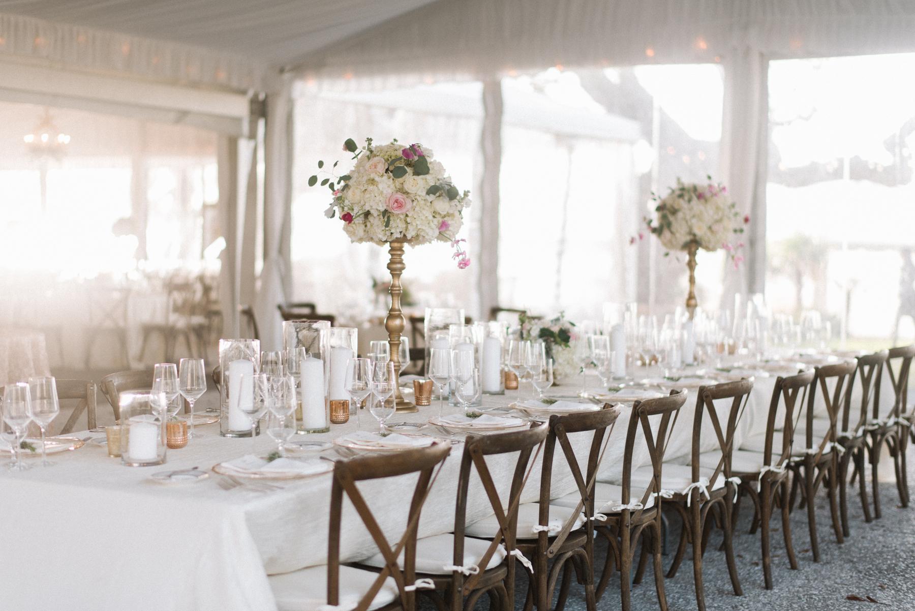 White Tent Wedding Table