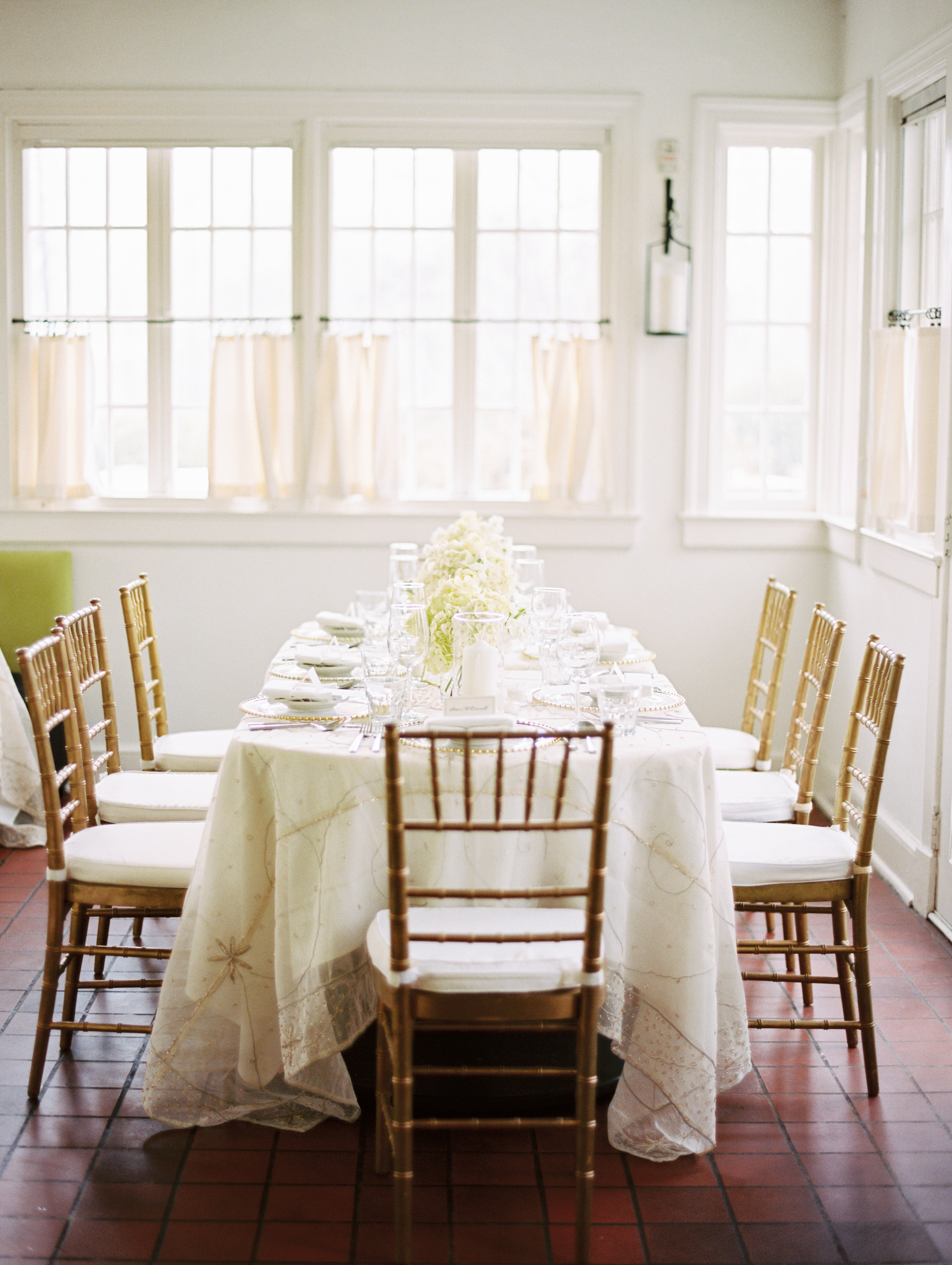 Ivory and Gold Mansion Wedding Reception