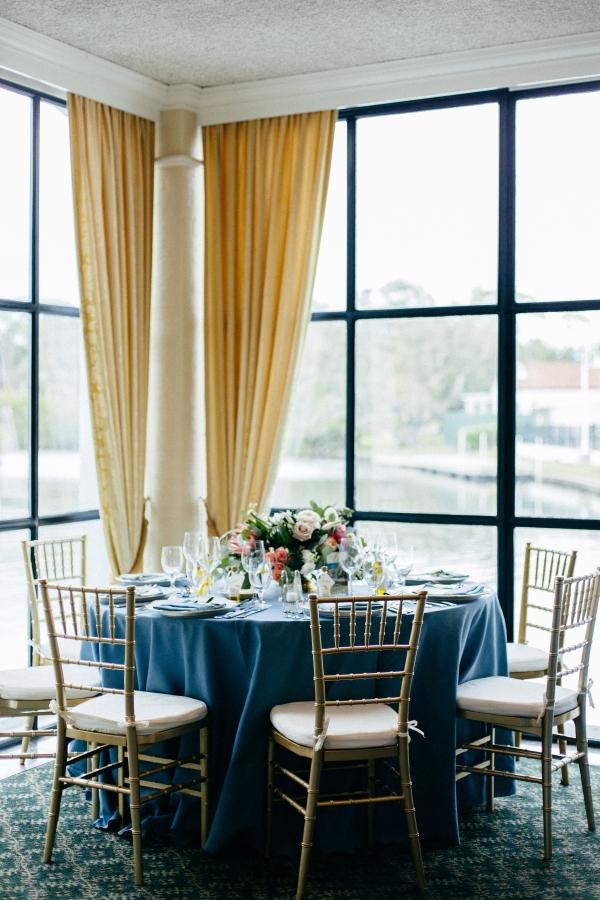 Blue Pink Gold Wedding Reception