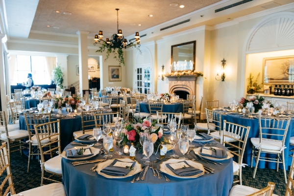 Blue and Gold Country Club Wedding Reception