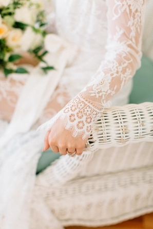 Bride in Lace Robe Detail