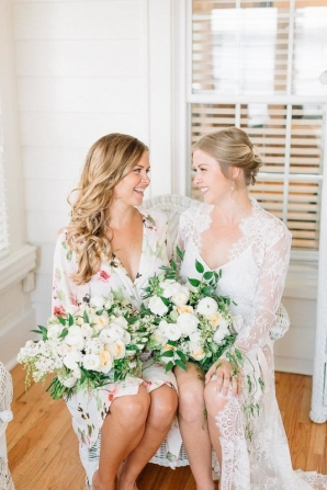 Bridesmaid and Bride Getting Ready