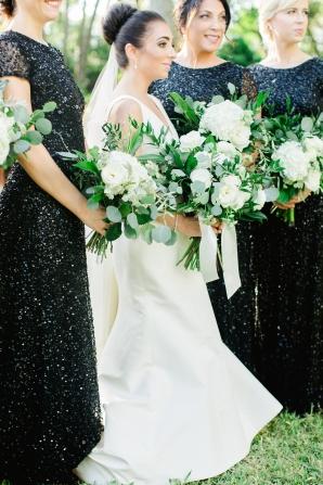 Bridesmaids in Black Sequins