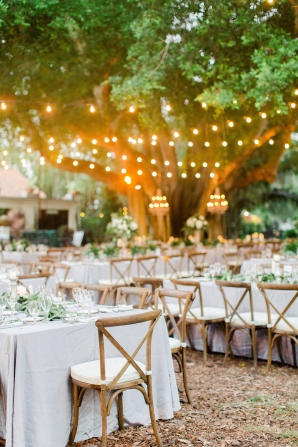 Elegant Outdoor Wedding Reception Twinkle Lights