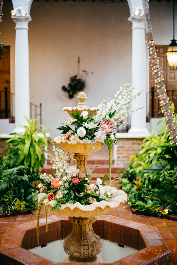 Flowers in Fountain for Wedding