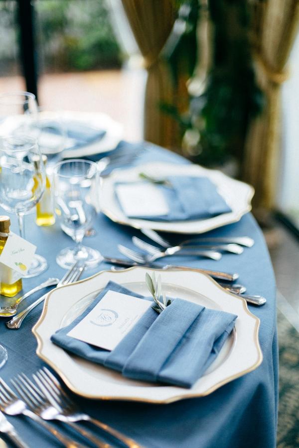 French Blue Wedding Linen