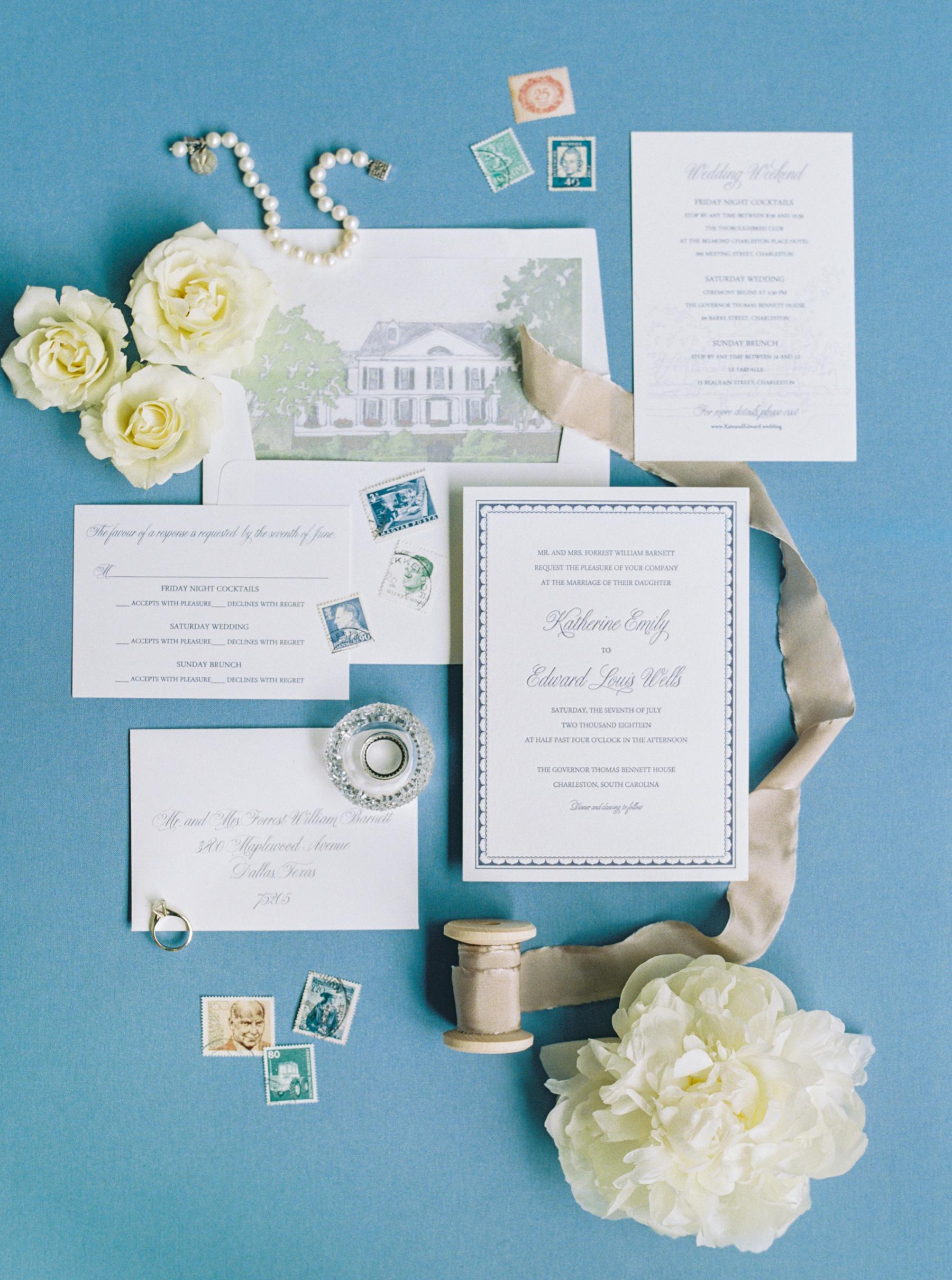 French Blue and White Charleston Wedding Invitations