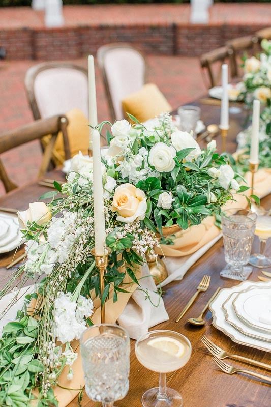 Gold Yellow Green Wedding Table