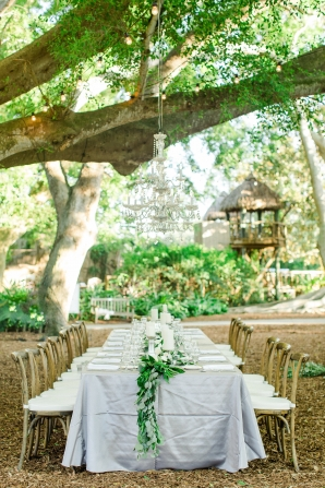 Gray and Green Garden Wedding with Chandeliers