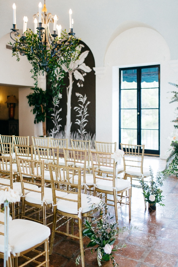 Green and Gold Indoor Wedding Ceremony