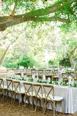 Green and Gray Outdoor Wedding Reception