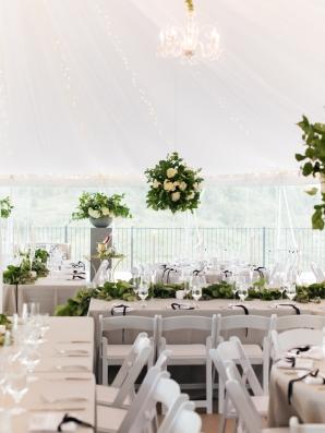 Greenery Centerpieces Tent Wedding
