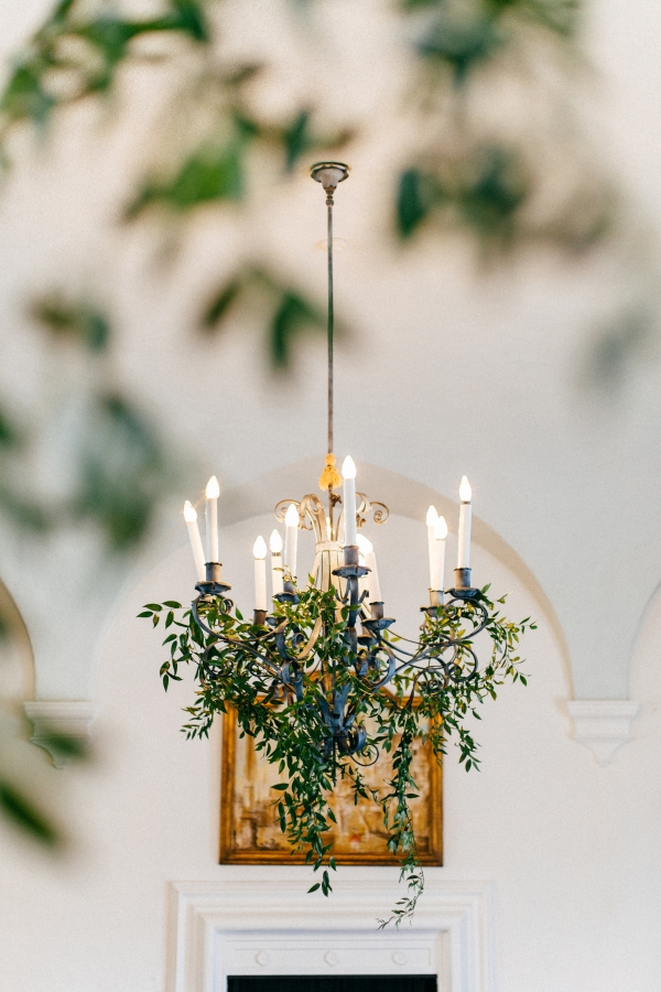 Greenery in Chandelier for Wedding