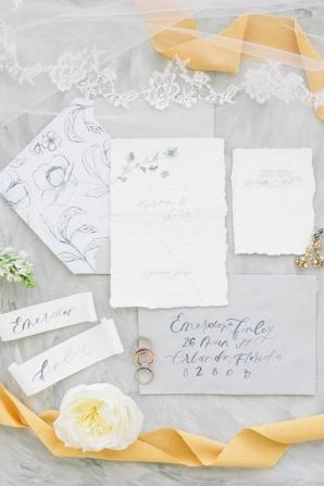 Mustard and Blue Wedding Invitations