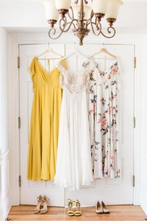 Mustard and Ivory Bridesmaids Dresses